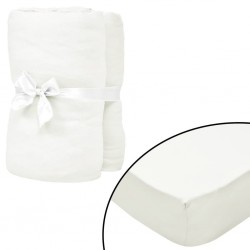 stradeXL Fitted Sheets for Waterbeds 2pcs 1.8x2m Cotton Jersey Offwhite