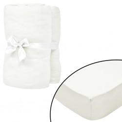 stradeXL 2 prześcieradła z gumką do łóżek wodnych, 2 x 2 m, złamana biel