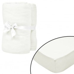 stradeXL Fitted Sheets for Waterbeds 2pcs 2x2m Cotton Jersey Offwhite