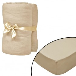 stradeXL Fitted Sheets 2 pcs 95x200 cm Cotton Jersey Beige
