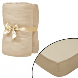stradeXL Fitted Sheets 2 pcs 150x200 cm Cotton Jersey Beige