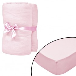 stradeXL Fitted Sheets for Cots 4 pcs Cotton Jersey 60x120 cm Pink