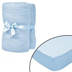 stradeXL Fitted Sheets for Cots 4 pcs Cotton Jersey 60x120 cm Light Blue