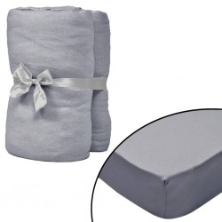 stradeXL Fitted Sheets for Cots 4 pcs Cotton Jersey 60x120 cm Grey