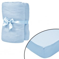 stradeXL Fitted Sheets for Cots 4 pcs Cotton Jersey 70x140 cm Light Blue