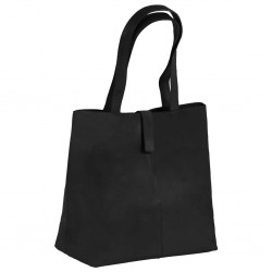 stradeXL Damska torebka shopperka z prawdziwej skóry, czarna