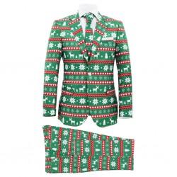 stradeXL Świąteczny garnitur męski z krawatem, 2-częściowy, 54, zielony