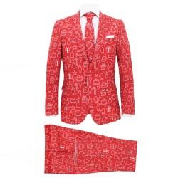 stradeXL Świąteczny garnitur męski z krawatem, 2-częściowy, 50, czerwony