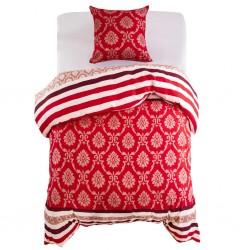 stradeXL Duvet Cover Set Striped Design Red 135x200/80x80 cm