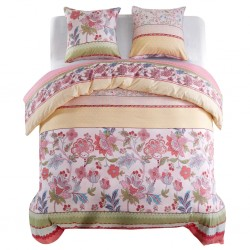 stradeXL Duvet Cover Set Floral/Striped Pink 240x220/80x80 cm