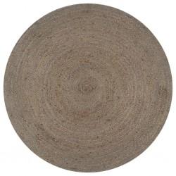 stradeXL Ręcznie robiony dywanik z juty, okrągły, 90 cm, szary