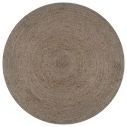 stradeXL Handmade Rug Jute Round 120 cm Grey