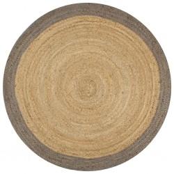 stradeXL Ręcznie wykonany dywanik, juta, szara krawędź, 90 cm