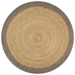 stradeXL Ręcznie wykonany dywanik, juta, szara krawędź, 150 cm