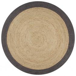 stradeXL Ręcznie wykonany dywanik, juta, ciemnoszara krawędź, 150 cm