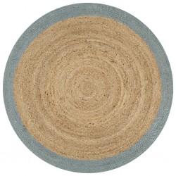 stradeXL Ręcznie wykonany dywanik, juta, oliwkowozielona krawędź, 150 cm
