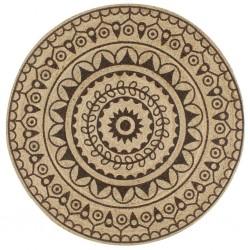 stradeXL Ręcznie wykonany dywanik, juta, ciemnobrązowy nadruk, 150 cm