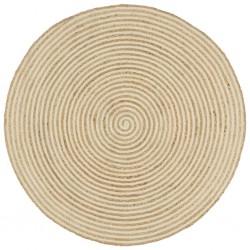 stradeXL Dywanik ręcznie wykonany z juty, spiralny wzór, biały, 90 cm