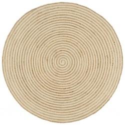 stradeXL Dywanik ręcznie wykonany z juty, spiralny wzór, biały, 120 cm