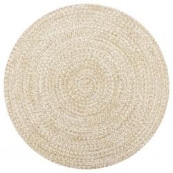 stradeXL Ręcznie wykonany dywanik, juta, biały i naturalny, 90 cm