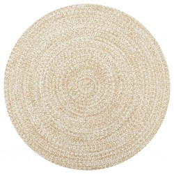 stradeXL Handmade Rug Jute White and Natural 120 cm