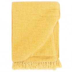 stradeXL Throw Cotton 220x250 cm Mustard Yellow