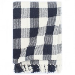 stradeXL Throw Cotton Check 125x150 cm Navy Blue