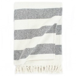 stradeXL Throw Cotton Stripe 220x250 cm Anthracite