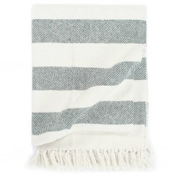 stradeXL Throw Cotton Stripe 125x150 cm Dark Green