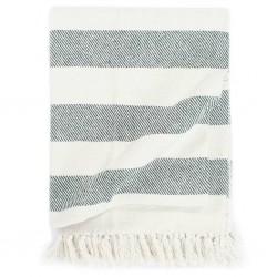 stradeXL Throw Cotton Stripe 160x210 cm Dark Green