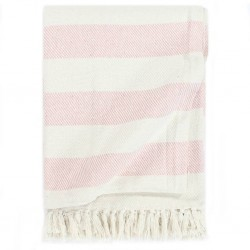 stradeXL Throw Cotton Stripe 160x210 cm Old Pink