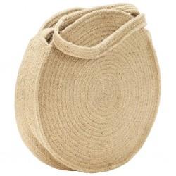 stradeXL Okrągła torebka na ramię, naturalna, ręcznie robiona, jutowa