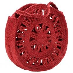 stradeXL Okrągła torebka, ażurowa, rdzawa, ręcznie robiona, jutowa