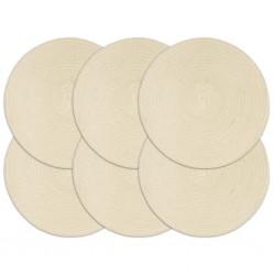 stradeXL Placemats 6 pcs Plain Natural 38 cm Round Cotton