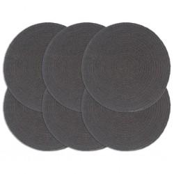 stradeXL Placemats 6 pcs Plain Dark Grey 38 cm Round Cotton