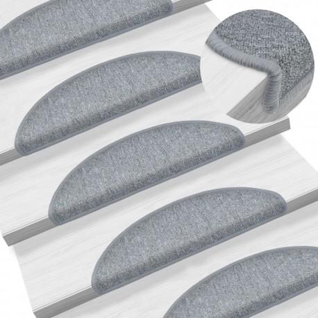 stradeXL Carpet Stair Treads 15 pcs Light Grey 56x17x3 cm