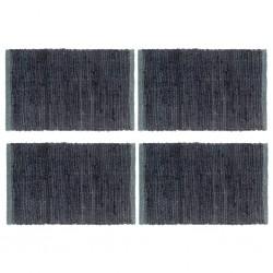 stradeXL Placemats 4 pcs Chindi Plain Anthracite 30x45 cm Cotton