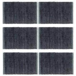 stradeXL Placemats 6 pcs Chindi Plain Anthracite 30x45 cm Cotton