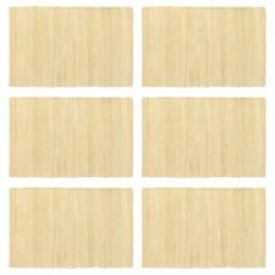 stradeXL Maty na stół, 6 szt, Chindi, gładkie, beżowe, 30x45 cm, bawełna