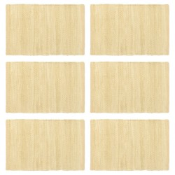 stradeXL Placemats 6 pcs Chindi Plain Beige 30x45 cm Cotton
