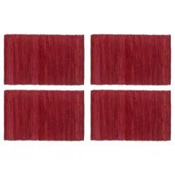 stradeXL Placemats 4 pcs Chindi Plain Burgundy 30x45 cm Cotton