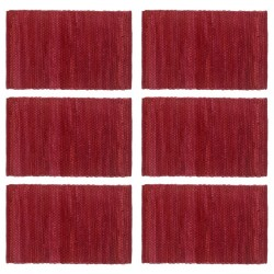 stradeXL Placemats 6 pcs Chindi Plain Burgundy 30x45 cm Cotton