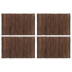 stradeXL Placemats 4 pcs Chindi Plain Brown 30x45 cm Cotton