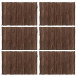 stradeXL Placemats 6 pcs Chindi Plain Brown 30x45 cm Cotton