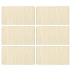 stradeXL Placemats 6 pcs Chindi Plain Cream 30x45 cm Cotton