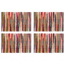 stradeXL Placemats 4 pcs Chindi Plain Multicolour 30x45 cm Cotton
