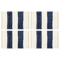 stradeXL Maty na stół, 4 szt, Chindi, w paski, niebiesko-białe, 30x45 cm