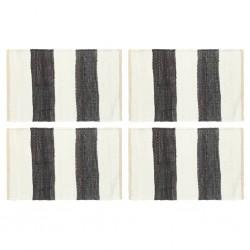 stradeXL Maty na stół, 4 szt, Chindi, paski, antracytowo-białe, 30x45 cm