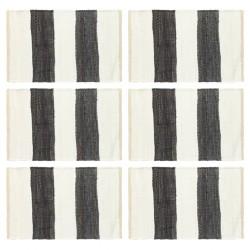 stradeXL Maty na stół, 6 szt, Chindi, paski, antracytowo-białe, 30x45 cm