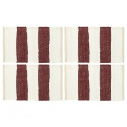 stradeXL Maty na stół, 4 szt, Chindi, paski, burgundowo-białe, 30x45 cm